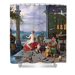 Allegory Of Music Oil On Canvas Shower Curtain