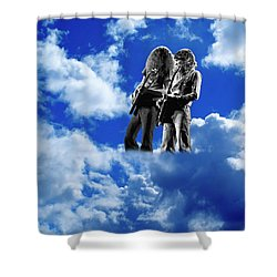 Shower Curtain featuring the photograph Allen And Steve In Clouds by Ben Upham