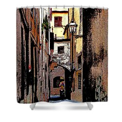 Shower Curtain featuring the digital art Alley In Florence 2 Digitized by Jennie Breeze