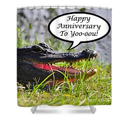 Alligator Anniversary Card Shower Curtain by Al Powell Photography USA