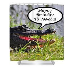 Alligator Birthday Card Shower Curtain