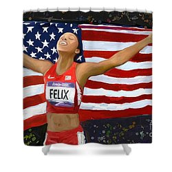 Allison Felix Olympian Gold Metalist Shower Curtain