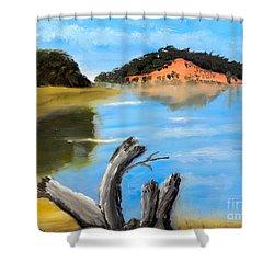 Allonah Beach Tasmania Shower Curtain by Pamela  Meredith