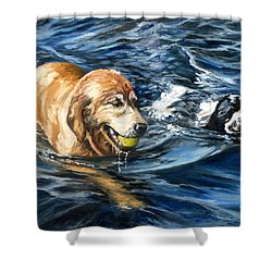 Ally And Smitty Shower Curtain by Eileen Patten Oliver