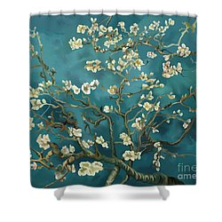 Shower Curtain featuring the painting Almond Blossoms' Reproduction by Tim Gilliland