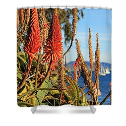 Aloe Vera Bloom Shower Curtain by Mariola Bitner