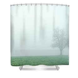 Alone In The Fog - Green Shower Curtain by Hannes Cmarits