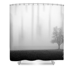 Alone In The Fog - Bw Shower Curtain by Hannes Cmarits