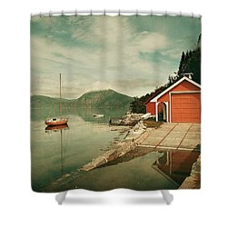 Along The Fjord Shower Curtain