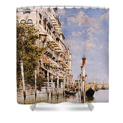 Along The Grand Canal Shower Curtain by Rafael Senet