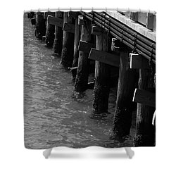 Along The Pier Shower Curtain by Barbara Bardzik