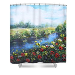 Shower Curtain featuring the painting Along The Poppy Valley by Vesna Martinjak
