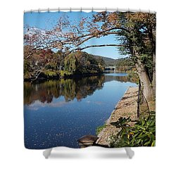 Along The River In Shelbourne Falls Shower Curtain