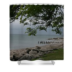 Shower Curtain featuring the photograph Along The Shore by Kay Novy