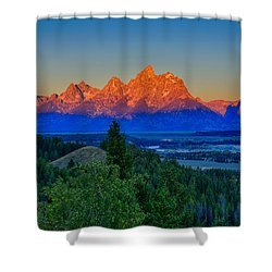 Alpenglow Across The Valley Shower Curtain