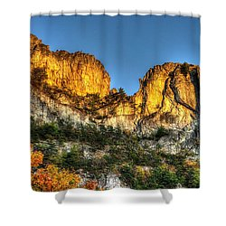 Alpenglow At Days End Seneca Rocks - Seneca Rocks National Recreation Area Wv Autumn Early Evening Shower Curtain by Michael Mazaika
