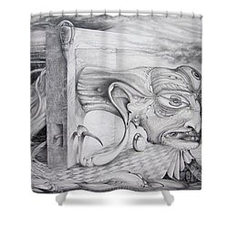 Shower Curtain featuring the drawing Alpha And Omega - The Reconstruction Of Bogomils Universe by Otto Rapp