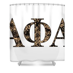 Shower Curtain featuring the digital art Alpha Phi Alpha - White by Stephen Younts