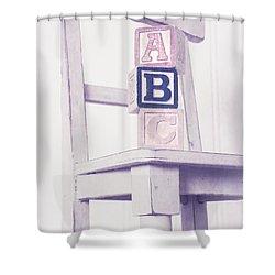 Alphabet Blocks Chair Shower Curtain by Edward Fielding