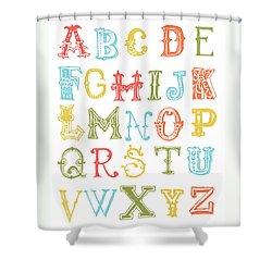 Shower Curtain featuring the digital art Alphabet Poster by Jaime Friedman