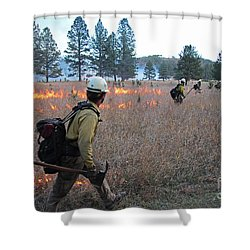 Alpine Hotshots Ignite Norbeck Prescribed Fire Shower Curtain