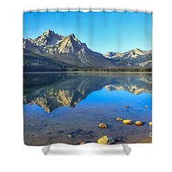 Alpine Lake Reflections Shower Curtain by Robert Bales