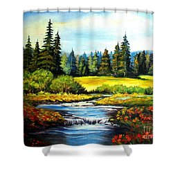 Shower Curtain featuring the painting Alpine Meadow by Hazel Holland