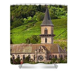 Alsace Church Shower Curtain by Brian Jannsen