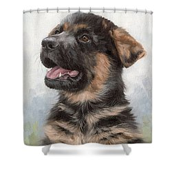 Alsatian Puppy Painting Shower Curtain