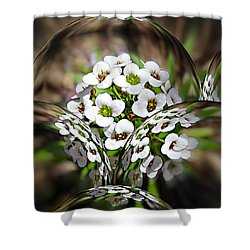 Shower Curtain featuring the photograph Alyssium Reflected by Nick Kloepping
