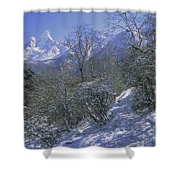 Shower Curtain featuring the photograph Ama Dablam In Winter by Rudi Prott
