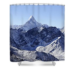 Ama Dablam Mountain Seen From The Summit Of Kala Pathar In The Everest Region Of Nepal Shower Curtain by Robert Preston