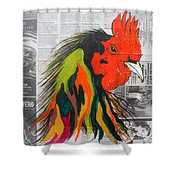 Shower Curtain featuring the painting Amadeo The Tuscan Rooster by Janice Rae Pariza