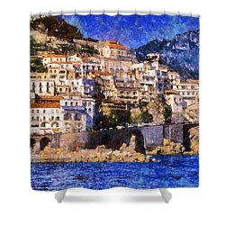 Amalfi Town In Italy Shower Curtain