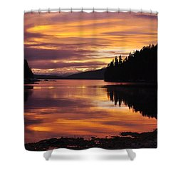 Amalga Harbor Sunset Shower Curtain
