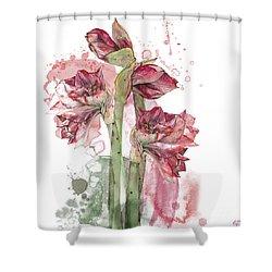 Shower Curtain featuring the painting Amaryllis Flowers - 3. - Elena Yakubovich by Elena Yakubovich