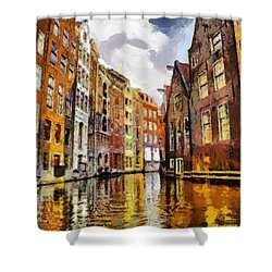 Amasterdam Houses In The Water Shower Curtain