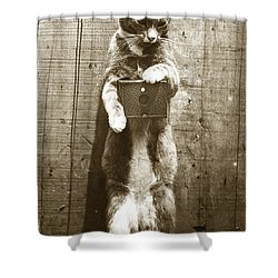 Shower Curtain featuring the photograph Amateur Feline Fotografer Cat With A Box Camera  Historical Photo 1900 by California Views Mr Pat Hathaway Archives
