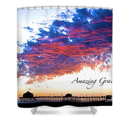 Amazing Grace Fire Sky Shower Curtain by Margie Amberge