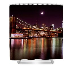 Amazing New York Skyline And Brooklyn Bridge With Moon Rising Shower Curtain by Mitchell R Grosky