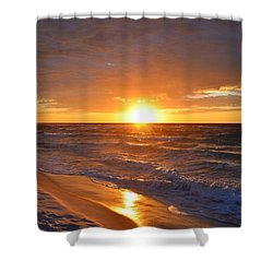 Shower Curtain featuring the photograph Amazing Sunrise Colors And Waves On Navarre Beach by Jeff at JSJ Photography