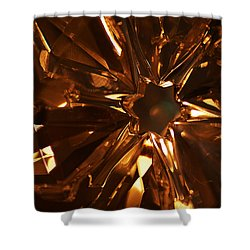 Shower Curtain featuring the photograph Amber Crystal Snowflake by Linda Shafer