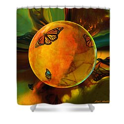 Ambered Butterfly Orb Shower Curtain by Robin Moline