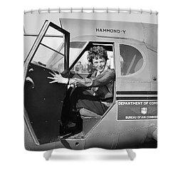 Amelia Earhart - 1936 Shower Curtain by Daniel Hagerman