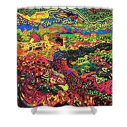 Shower Curtain featuring the drawing American Abstract by Jonathon Hansen