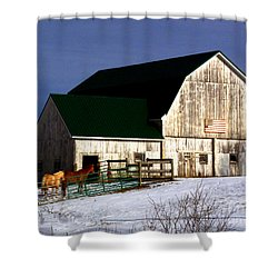 American Barn Shower Curtain by Desiree Paquette