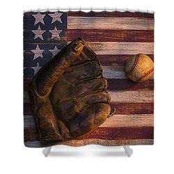 American Baseball Shower Curtain by Garry Gay