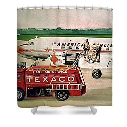 American Dc-6 At Columbus Shower Curtain by Frank Hunter