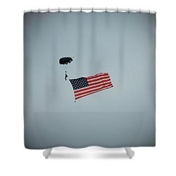 American Flag In The Sky Shower Curtain by Aimee L Maher Photography and Art Visit ALMGallerydotcom