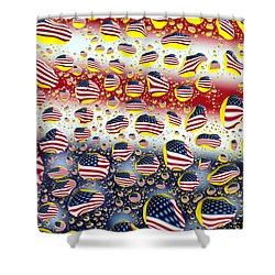 American Flag In Water Drops Shower Curtain